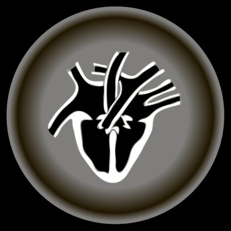 cutaway drawing: Icon Human heart anatomy on gray plate.