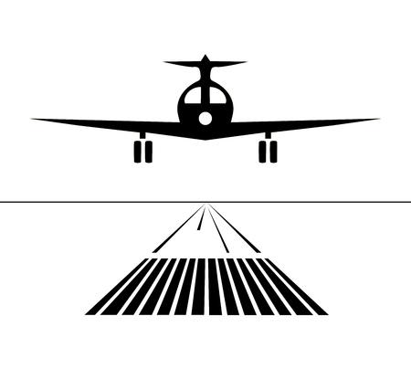 アイコン飛行機が分離された滑走路に着陸します。ベクトル図