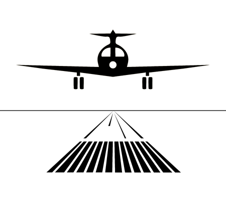Icon plane lands on the runway isolated. Vector illustration Çizim