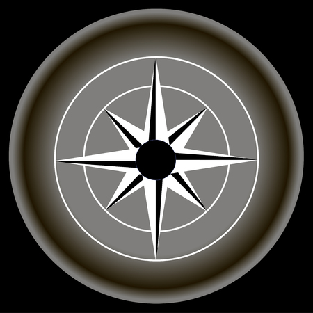 compass rose: Icon Rose of wind on gray plate isolated.