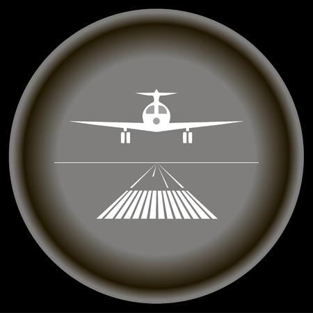 e business: Icon white landing plane on gray plate black background. Illustration