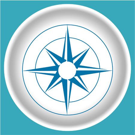 compass rose: Icon of a rose on a white plate.