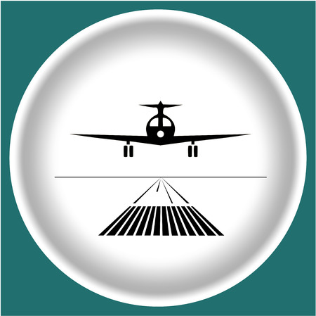 Icon black landing plane on white plate.