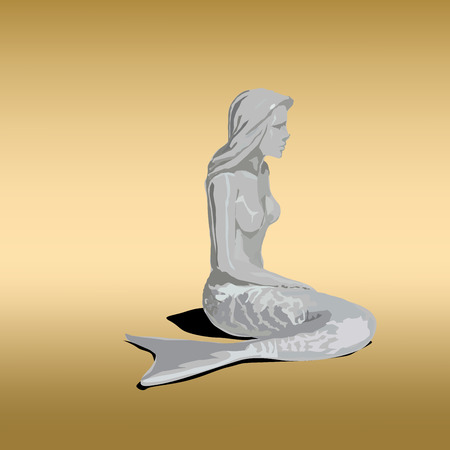 water s: Statue of Mermaid girl with tail and shadow on gold background.