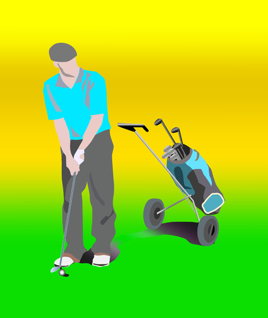 golf man with bag on wheels with golf clubs and accessories