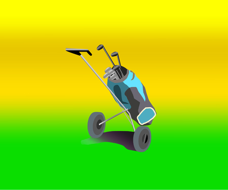 golfer Accessories and hinges in a bag on wheels.