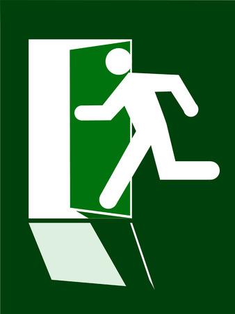 La siluetta umana dell'uscita del segno funziona dentro doore aperto su fondo verde.