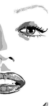 half Face of girl with lips and nails like mere lin monroe. clip art of a beautiful woman with red lips like mere-lin monroe. Stock Illustratie