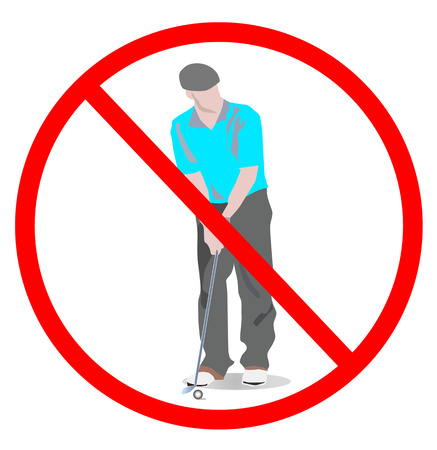 No play game golf sign. golf man with golf clubs not playing golf game isolated on white background