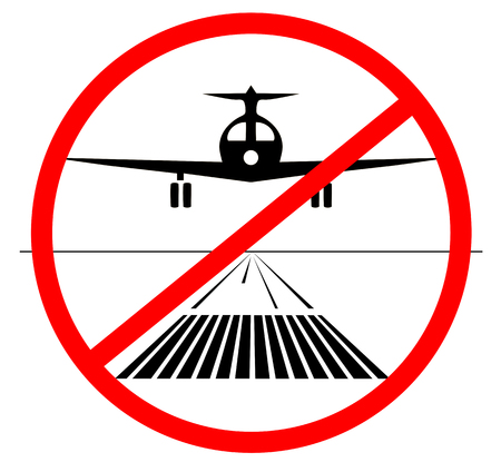 NO landing Icon. plane no lands on the runway isolated. vector illustration. do not landing down Banco de Imagens - 110863376
