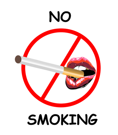 No smoking sign with Sexy biting red lips. Abstract lipstick in the open mouth with cigarette. Vector- illustration icon Illustration