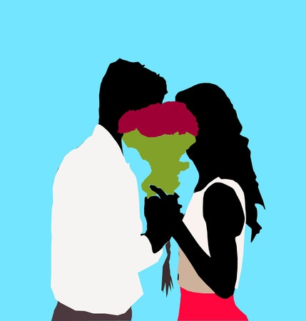 Bearded gentleman in tux present bouquet of red roses to his charming cute sexy girl in white red dress on blue background. vector