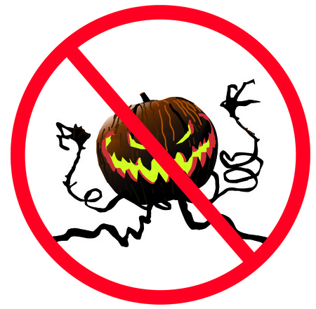 No enter sign monster pumpkin with scary face on white isolated. Warning monster. Vectores