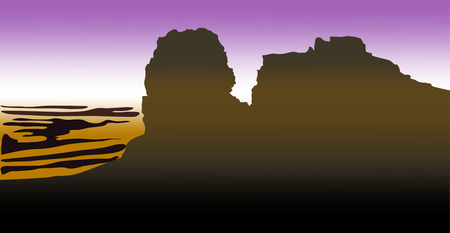 dark silhouettes of high mountains with desert on blue ackground. vector illustration