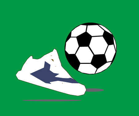 shoes and ball sign on green background isolated. football sign vector illustration
