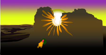 the light of the sun. The sunlight creates a reflection of the sunny bunny. landscape vector illustration