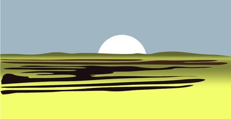 Sun from desert savannah low hills on blue background. vector illustration
