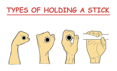 types of holding a stick. four combination of hand positions.
