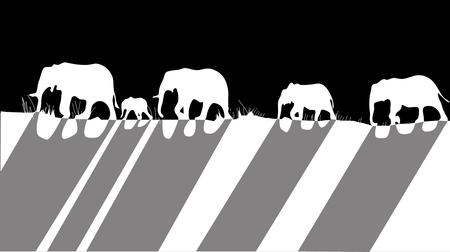 silhouettes of elephants.