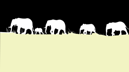 silhouettes of elephants cross africa yellow sand on black background isolated.