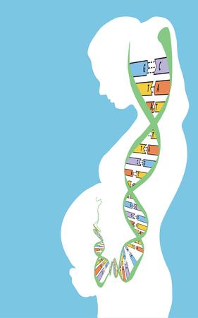 DNA on blue background. Vector illustration.