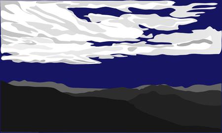 white silhouettes of dark blue ackground. vector illustration