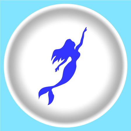 Teken meisje zeemeermin silhouet op witte achtergrond. vector zeemeermin illustratie.