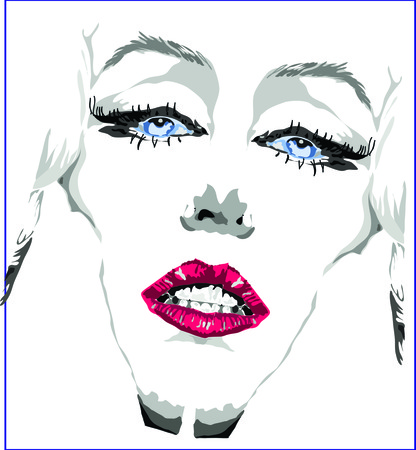 Face of girl with red lips and blue eyes clip art of a beautiful woman with red lips.