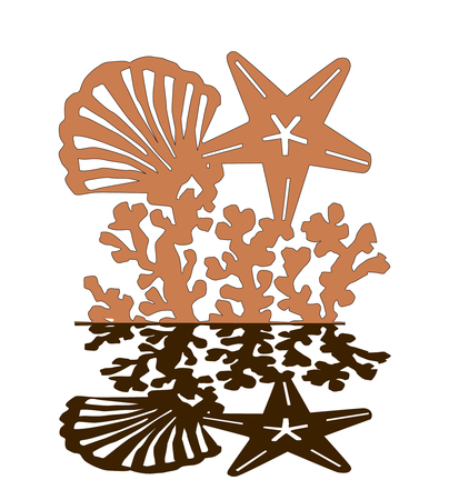 Sea shell and star pattern with shadow isolated on white background. Wedding beach pattern invitation cards gift. laser cut pattern. sea star shell pattern vector illustrationn.