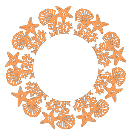 Sea shell star patterned on white background. Wedding beach pattern invitation cards gift. laser cut pattern. sea star shell pattern vector illustration.