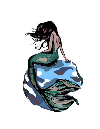 tail isolated on white bacground. mermaid vector illustration. Ilustrace