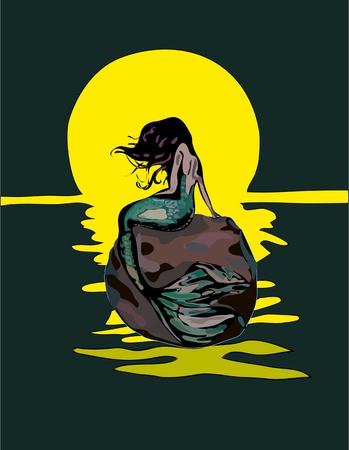 isolated on white bacground. mermaid vector illustration.