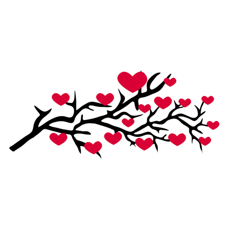 branch pattern with red hearts isolated on white background. branch vector illustration Ilustrace