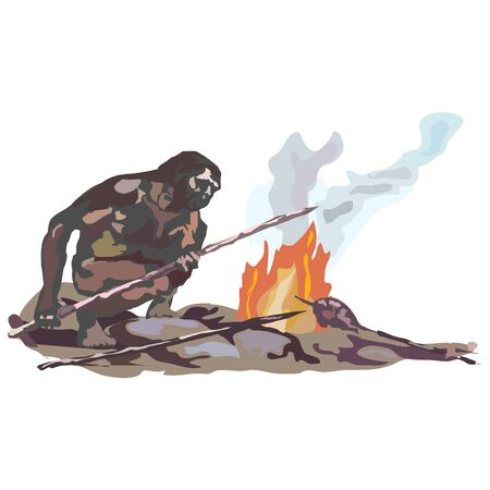 Neanderthals, cavemen, sitting on stones by the, smoking fire, holding spears in their hands. Ilustrace
