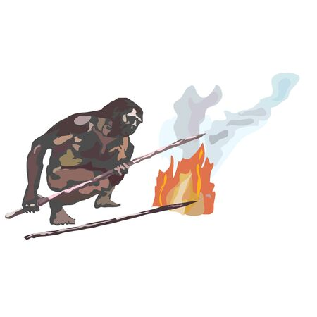 Neanderthals, cavemen, smoking fire, holding spears in their hands. Ilustrace