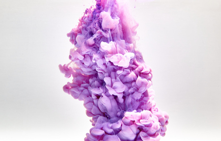 explode: Violet pastel ink smoke cloud in water Stock Photo