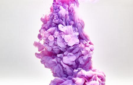 murky: Violet pastel ink smoke cloud in water Stock Photo