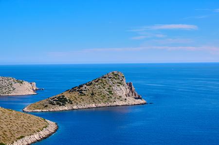 kornati national park: Lone cliff vista, part of Croatian national park Kornati Stock Photo