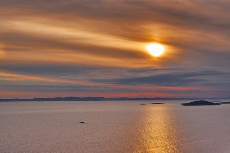 Cloudy sunset over adriatic sea in Croatia