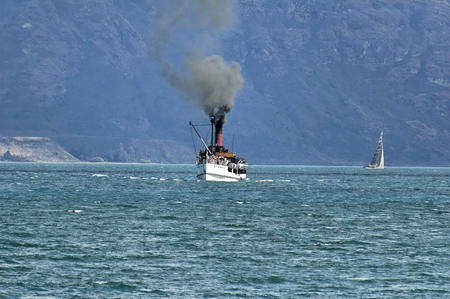 Vintage steamship, Wakatipu lake, Queenstown, New Zealand Stock Photo