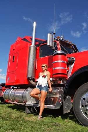 Babe and mighty red truck