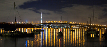 Panoramic view of Auckland city by night