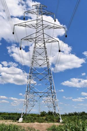 Brand new power line in construction, wiring work