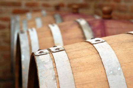 ferment: Wooden wine barrels in cellar