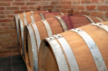 ferment: Perspective of barrels in a cellar Stock Photo