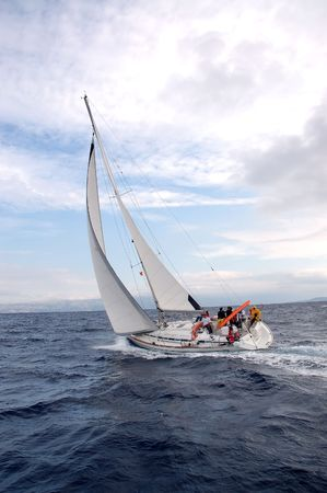 croatia: Team on a sailing cruise on Adriatic sea, Croatia