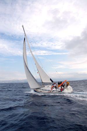 Team on a sailing cruise on Adriatic sea, Croatia Stock Photo - 919521