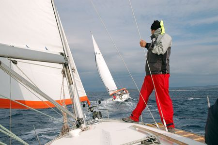 oceanographic: Team on a sailing competition on Adriatic sea in Croatia. It was taken in late Autumn 2006. Weather was perfect for sailing.