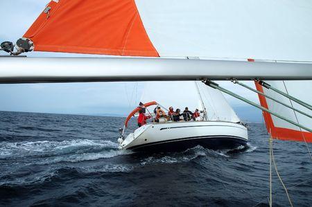 team journey: Team on a sailing cruise on Adriatic sea Stock Photo