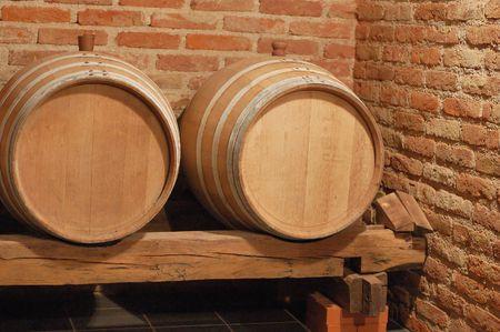 ferment: Two wine barrels in cellar